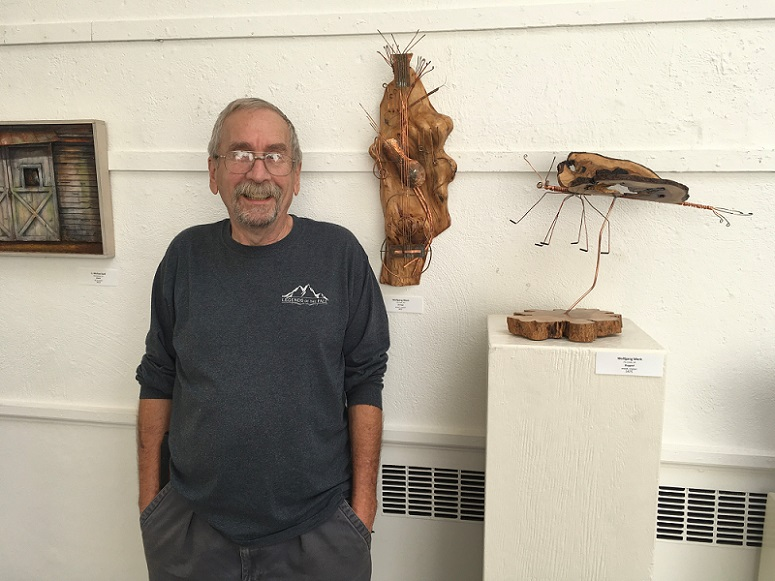 Wolfgang Merk, Liver Transplant Recipient Standing in Front of Art Display